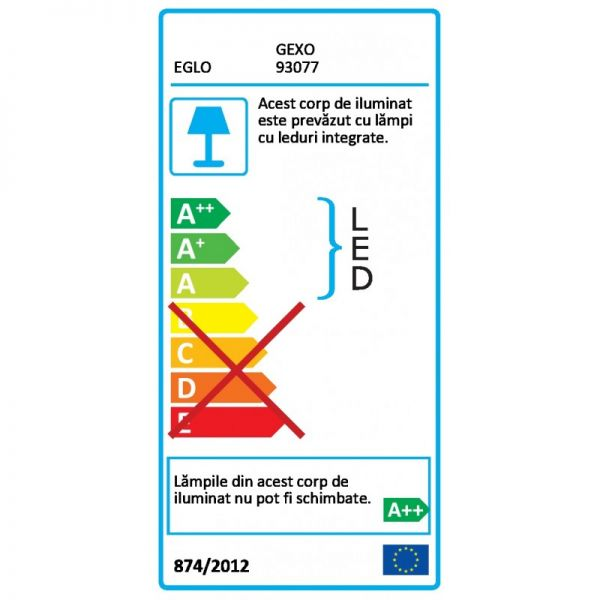 Veioza Gexo Eglo, 93077, Alb, LED 3W, Lumina Calda, 220lm