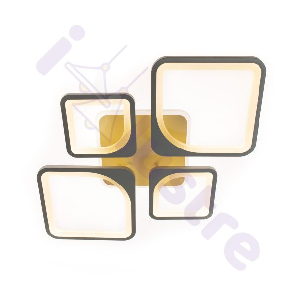 Plafoniera LED RGB LEDO Light, Alb, Romb, LED 114W, Lumina Variabila, Dimabila, 6600 lm