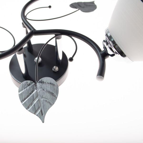 Lustra cu 3 brate, Negru/Gri, Finisaj metalic cu motive naturale, Abajoare mate decorative, 3xE27, IP20