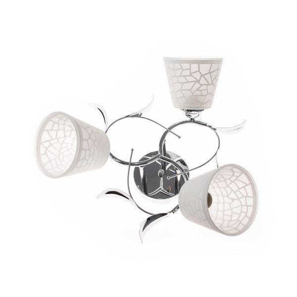 Lustra cu 3 brate, Argintiu, Finisaj metalic, Abajoare mate decorative, 3xE27, IP20