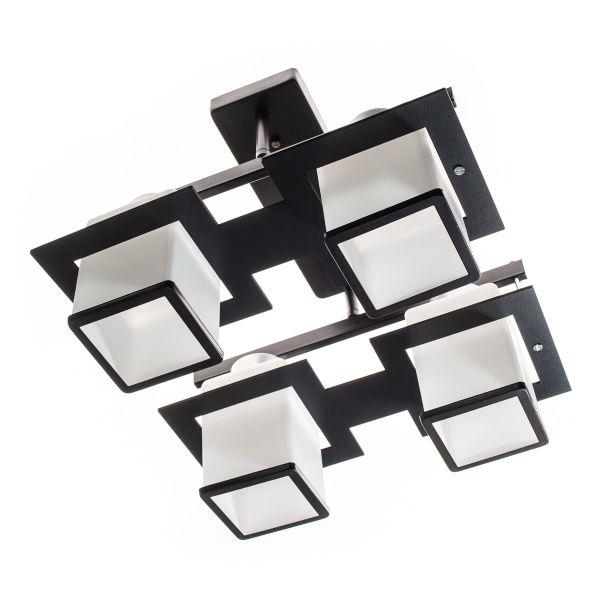 Lustra clasica, 4 surse de lumina, Negru, Finisaj metalic + lemn presat, Abajur din sticla mata, 4xE27