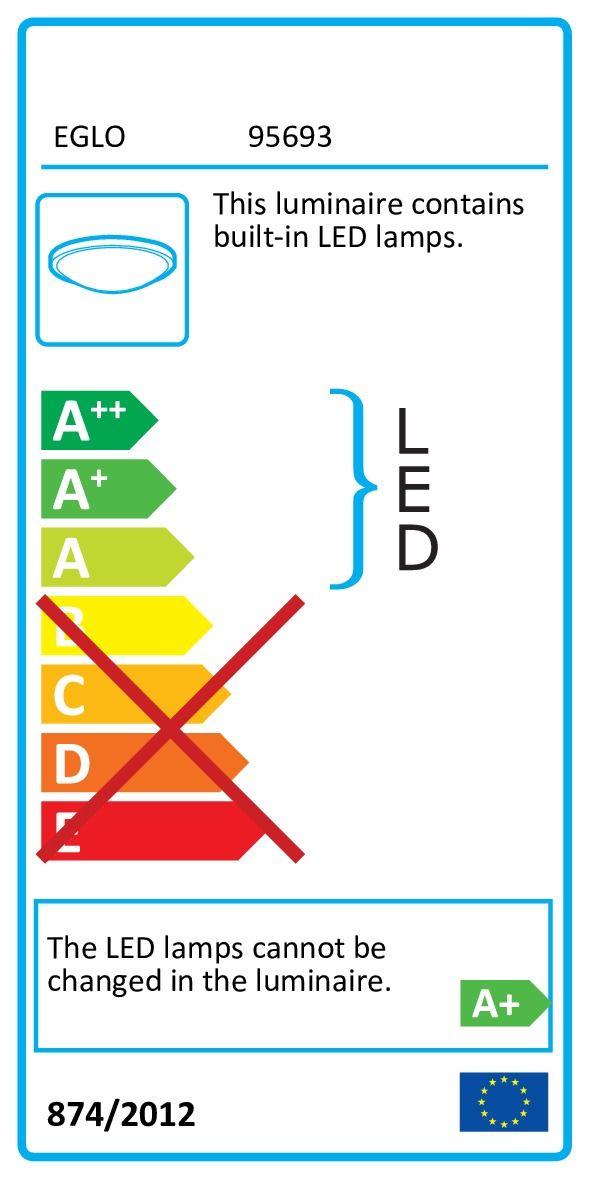 Aplica Ontaneda Eglo, 95693, alba, LED 11W, Lumina Calda, 950lm