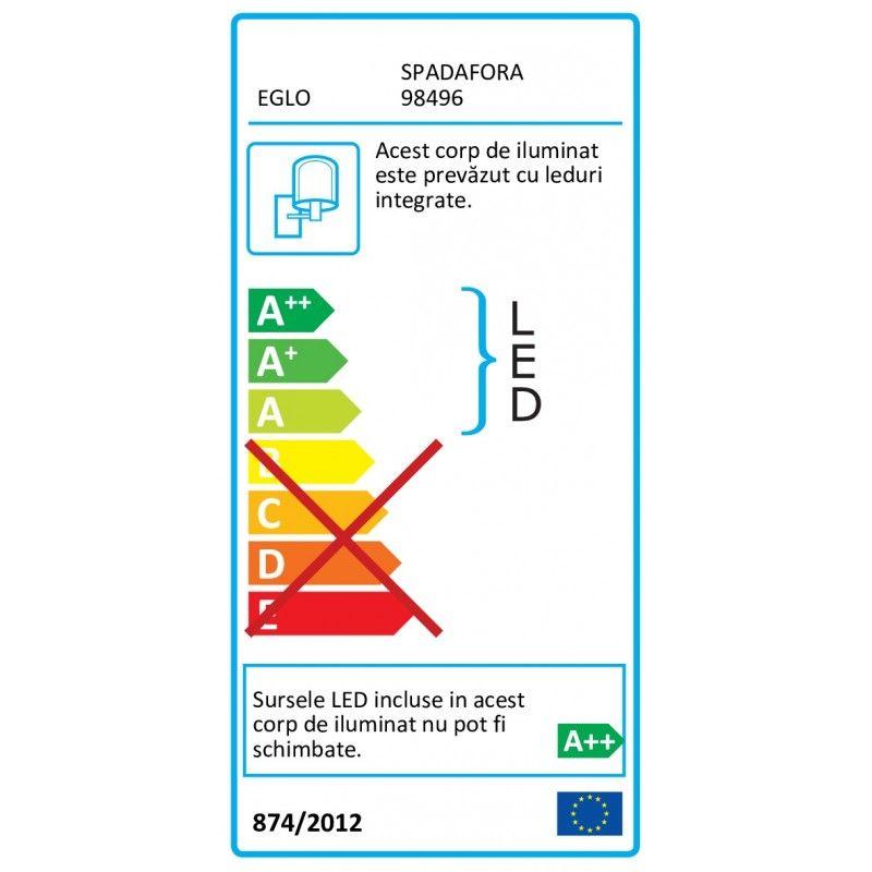 Aplica Spadafora Eglo, 98496, Negru, LED 12.5W, Lumina Calda, 1750lm