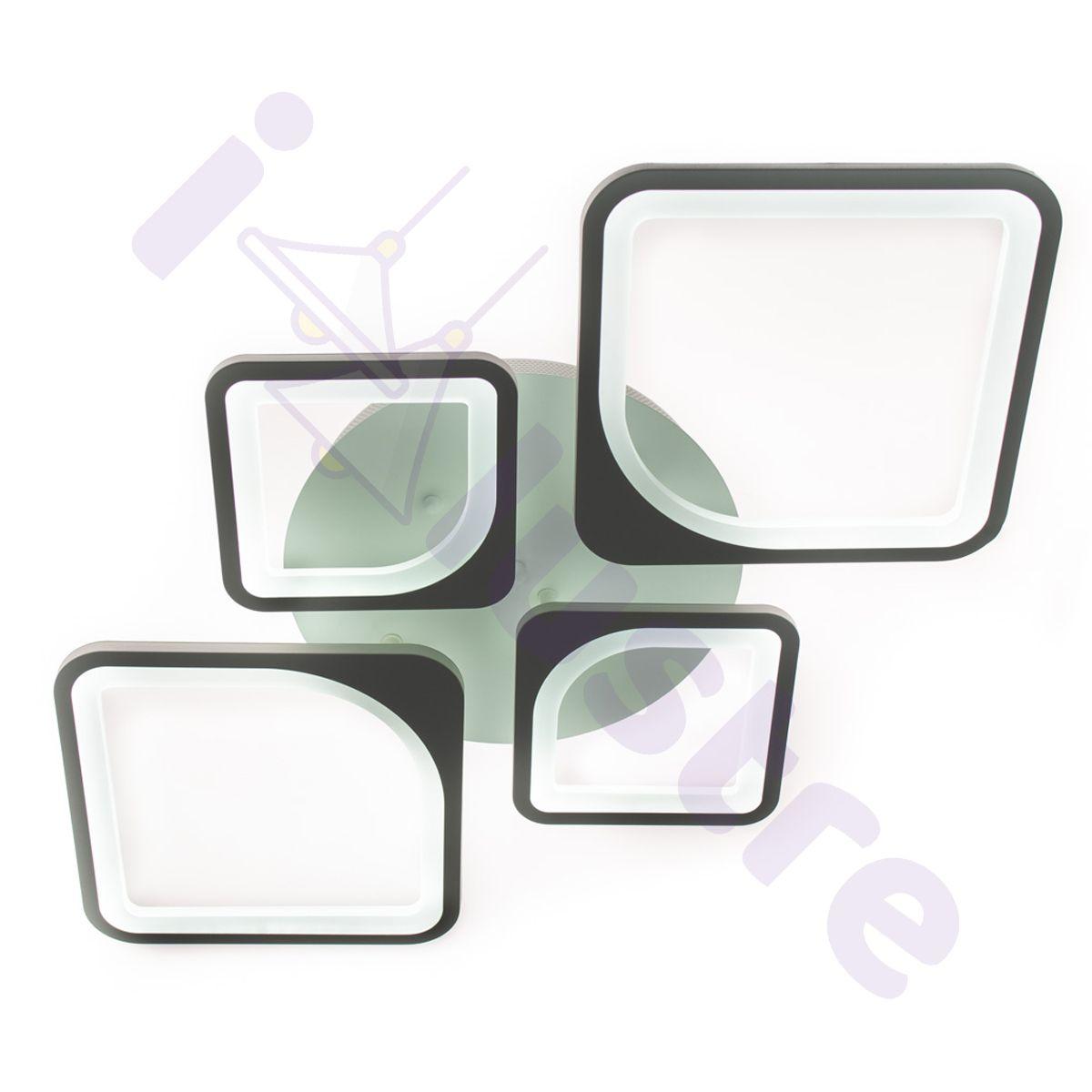 Plafoniera LED LEDO Light, Alb, Romb, LED 102W, Lumina Variabila, Dimabila, 6000 lm
