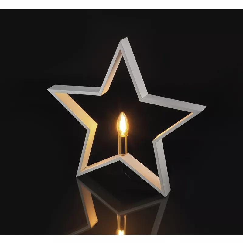 Decoratiune Craciun Stea cu bec E14 Emos, 2214, Alb, Dulie E14